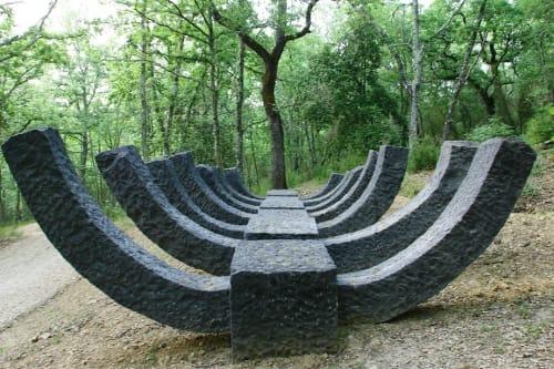 "Public Sculptures by Kemal Tufan seen at Parco Sculture del Chianti, Pievasciata - ""Keel 2"""