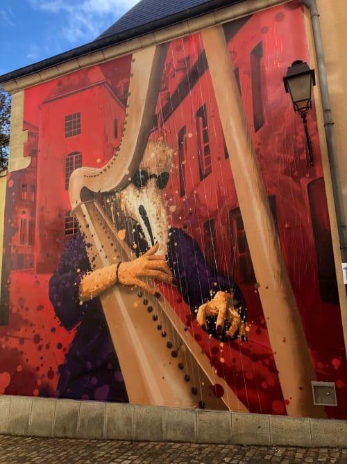 Street Murals by Raphael Gindt seen at Rue du Saint Esprit, Luxembourg - Myths a Legends from the Hossegässel