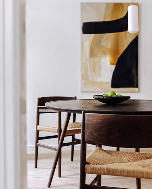 Paintings by Flora and Form at Private Residence, Copenhagen - Black and Gold Abstract Painting