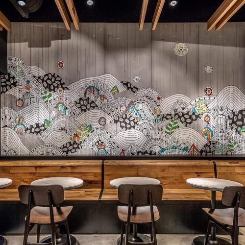 Murals by Sophie Roach seen at Starbucks, Spring - Starbucks Target Spring Mural