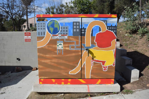 Street Murals by Mensah Bey seen at 1173 Russ Blvd, San Diego - Response to Fragmented Factories