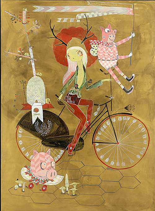 Murals by Kelly Tunstall seen at SPQR, San Francisco - Deer Woman On Bike Mural