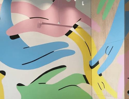 Murals by Jocelyn Tsaih seen at Facebook Building 250, Mountain View - Facebook Mural