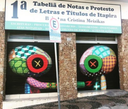 """Murals by Tinho seen at 1º Cartório de Notas e de Protesto de Letras e Títulos de Itapira, Centro - """"According!"""" Mural"""