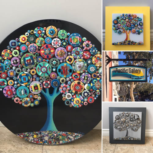 """Art & Wall Decor by Cami Levin seen at Private Residence, San Diego - """"Color My World"""" - 30"""" diameter"""