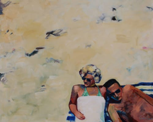 Paintings by T.S. Harris aka Tracey Sylvester Harris seen at Private Residence, Kansas City - 'Couple at the Beach', 48x60 original oil painting