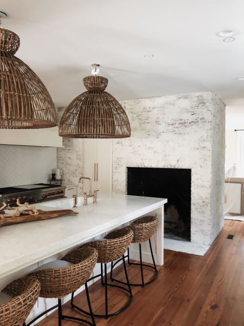 Wall Treatments by EMILY POPE HARRIS ART seen at Private Residence, Sea Island - Whitewashed Brick in Kitchen