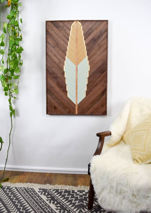 Wall Hangings by Roaming Roots seen at Private Residence, Spokane - Scissortail Feather Wood Artwork