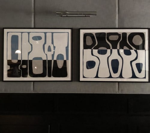 "Paintings by Rob Delamater seen at Pizza Antica, San Jose - ""Modern Vessels I & II"""