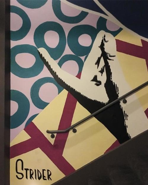 Murals by Strider Patton seen at Emporium SF - Arcade Bar Venue, San Francisco - Interior Mural