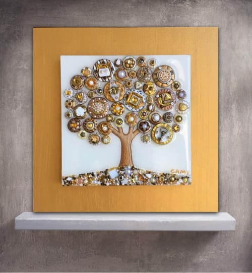 """Art & Wall Decor by Cami Levin seen at Private Residence - Tree of Love - """"Frosted Sky"""""""