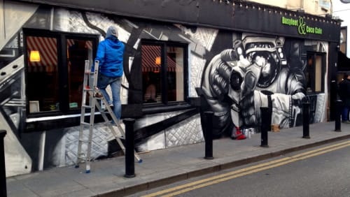 Murals by Shane Sutton seen at Busyfeet & Coco Cafe, Dublin 2 - Spacer
