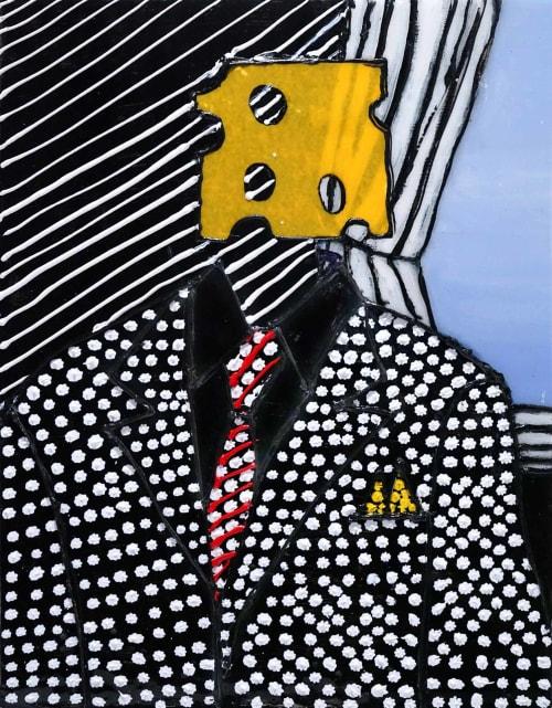 Paintings by Diane Gelman seen at Creator's Studio, Houston - Cheesehead
