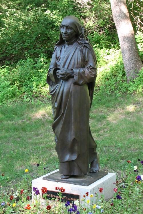 Public Sculptures by Alec M. Smith seen at Saint Mary's University of Minnesota, Winona - Saint Teresa of Calcutta