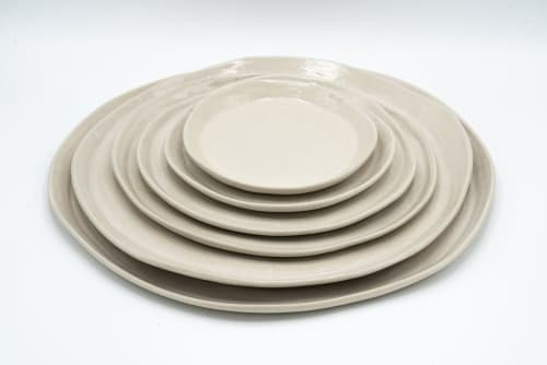 Tableware by Charlotte Ceramics at Private Residence, Ibiza - Range of tableware in off white. Plates, cups, bowls,...
