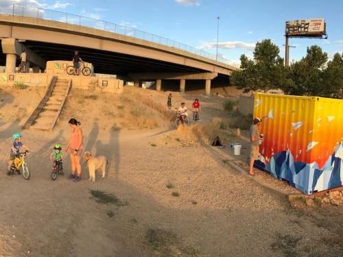 Street Murals by Josh Scheuerman seen at Bike trail 9 Line Bike Park, Salt Lake City - Paper Plane Abstract