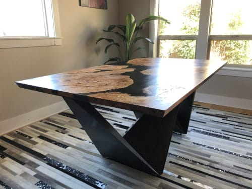 Tables by Black Rose WoodCraft seen at Private Residence, Portland - Maple Burl & Resin Dining Table