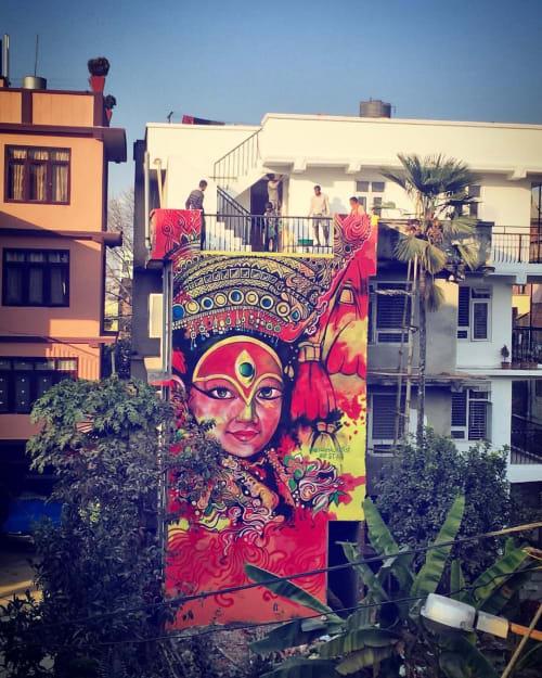 Street Murals by nileshartist seen at Zostel Kathmandu, काठमाडौँ - Leaving goddess