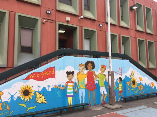 Murals by Ursula Xanthe Young seen at Alamo Elementary School, San Francisco - Be A Friend
