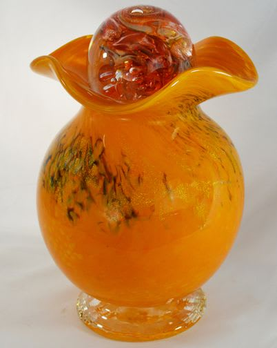 Vases & Vessels by White Elk's Visions in Glass - Marty White Elk Holmes seen at Private Residence - Glass Urn