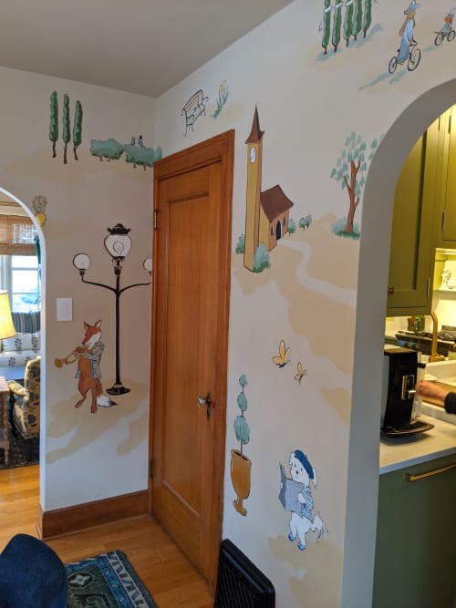 Murals by Ann Karp, Sideways Gaze Art & Sign seen at Private Residence, Missoula - Custom hand-painted wallpaper
