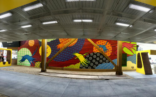 Street Murals by Chris Silva seen at Paulina Station of the Brown Line, Chicago, IL, Chicago - Flight Patterns