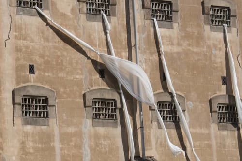 Public Art by Octavi Serra seen at La Model, Barcelona - Fuga massiva