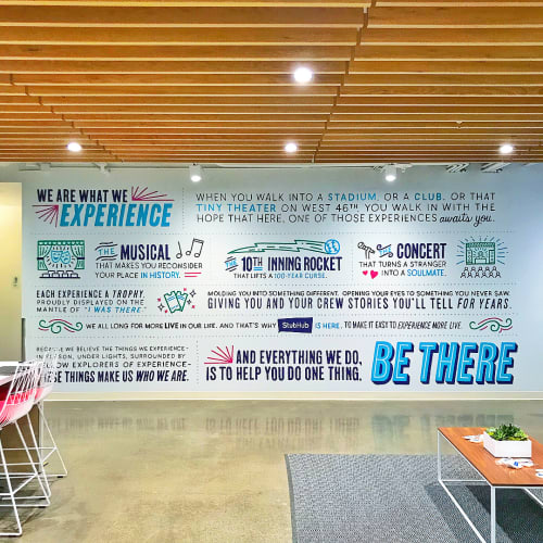 Murals by Lisa Quine seen at StubHub, San Francisco - We Are What We Experience