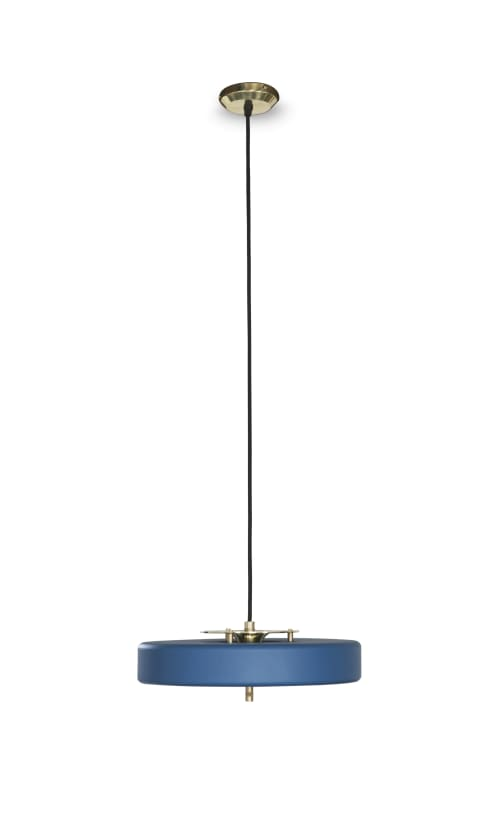 Pendants by Bert Frank seen at MESH Club, Johannesburg - Revolve Pendant - Brass & Blue