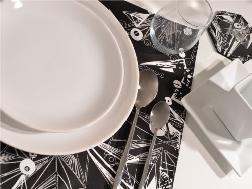 Tableware by Moody Monday seen at Raf Edinburgh, Edinburgh - Nebulae Hand-Printed Linen Placemat + Coasters