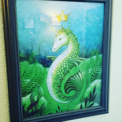 Paintings by Art by Eya seen at Beyond Therapy with Dr. Jo, PLLC, Austin - Seahorse Unicorn Mermaid