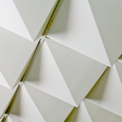 Tiles by Jaime and Isaac Salm of MIO seen at Sony PRO Support Los Angeles at the Sony Digital Media Production Center, Los Angeles - Peak Foldscapes Ceiling Tiles