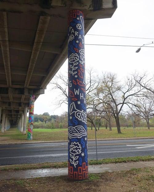 Murals by Will Hatch Crosby seen at Rosewood Neighborhood Park, Austin - Rosewood Pillar Mural