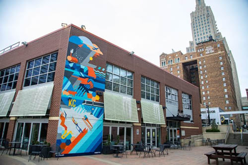 Murals by Sike Style Industries seen at PNC Plaza, Kansas City - Phil Shafer