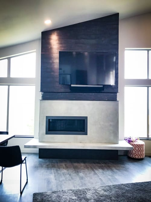 Fireplaces by Woven 3 Design seen at Private Residence, Sandpoint - Concrete Fireplace Surround and Hearth