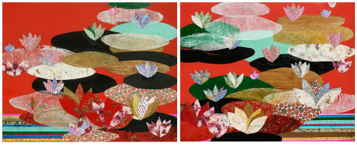 Paintings by Meredith Pardue seen at Savannah College of Art and Design Hong Kong - Lotus I & II