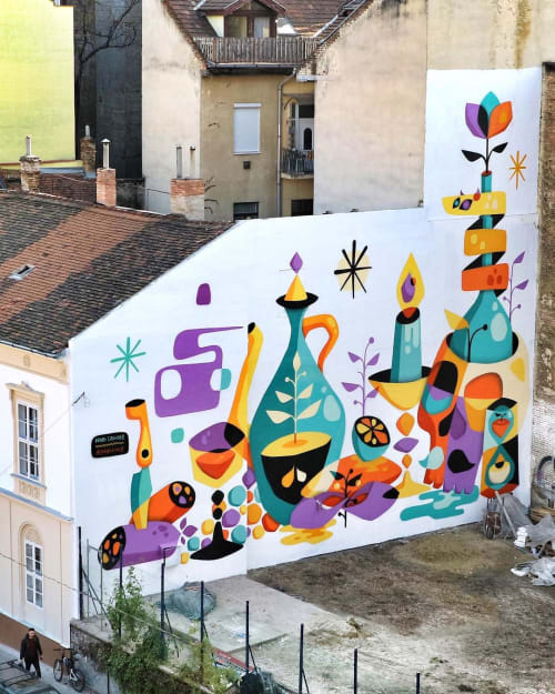 Street Murals by RUBEN SANCHEZ seen at Private Residence, Budapest - Mural