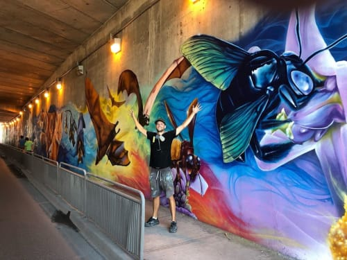 Street Murals by Nick Sweetman seen at Bathurst Street, Toronto - Bathurst-Wilson Underpass