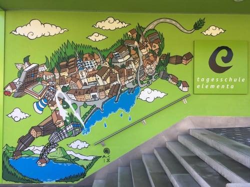 Murals by Andy Council seen at Tagesschule Elementa AG, Neuheim - Zugger Cow