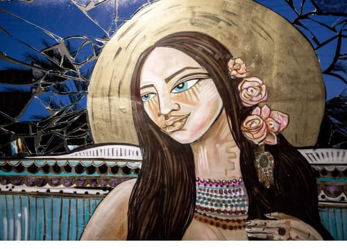 Street Murals by Alice Mizrachi seen at 101 NW 36th St, Miami - GODDESS MA'AT