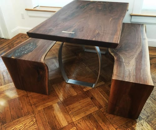 Tables by Creation Therrien seen at Private Residence, Brooklyn - Walnut Dining Table