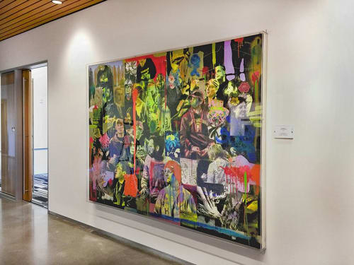 Paintings by Fausto Fernandez seen at CNM Main Campus Student Services Center (SSC), Albuquerque - Spectators