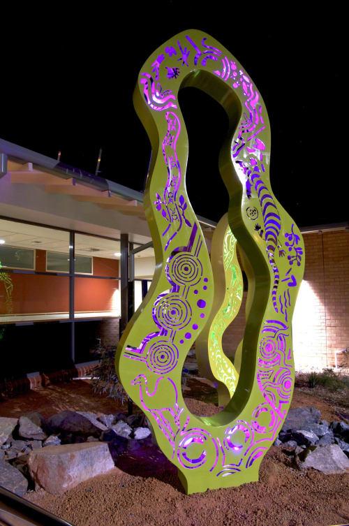 Public Sculptures by Tony Pankiw seen at Kalgoorlie Health Campus, Kalgoorlie - Spinifex Lanterns