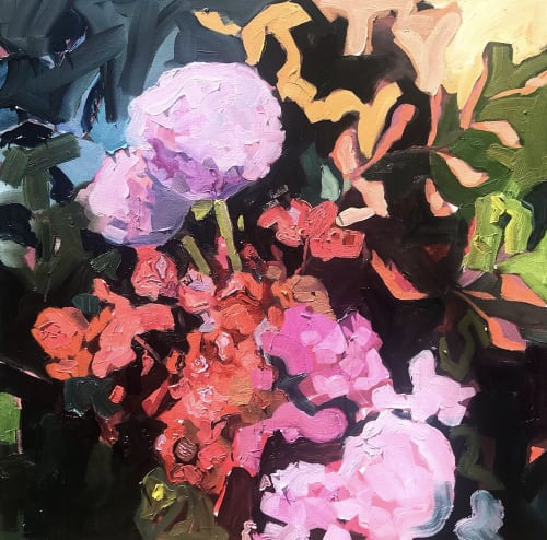 Paintings by Mary Singleton Studio seen at Copper Vine Winepub, New Orleans - As Southern as Hydrangeas and Ice Tea