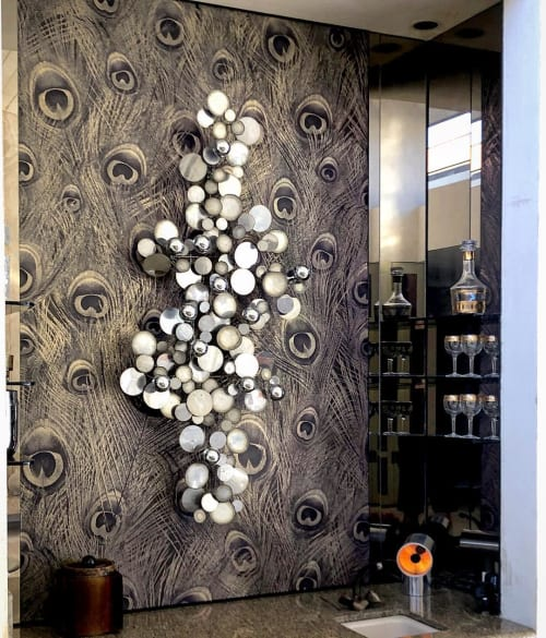 Wallpaper by FliePaper seen at Private Residence, Rancho Mirage - Metallic Peacock