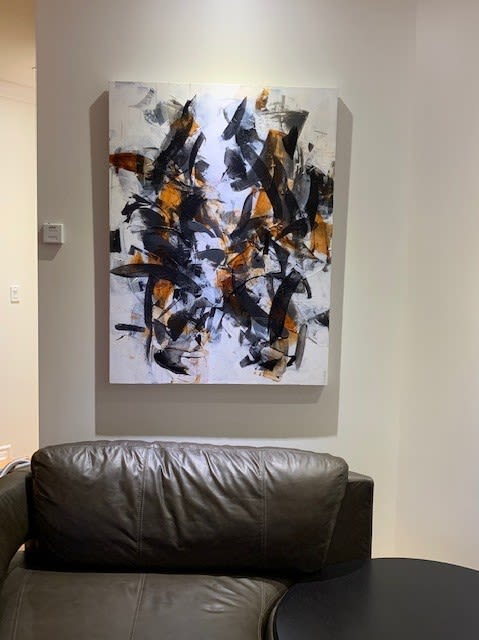 Acrylic paintings Entre les lignes and Between Us   Paintings by Johanne Brouillette