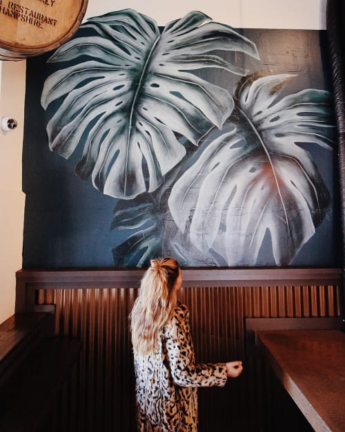 Murals by Charly Malpass Art seen at The District, Portsmouth - Monstera