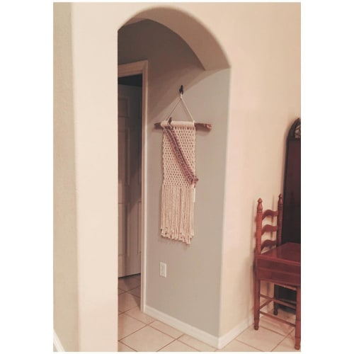 Macrame Wall Hanging by Oak & Vine seen at Private Residence, Lakeland - White with Pink Line Macrame