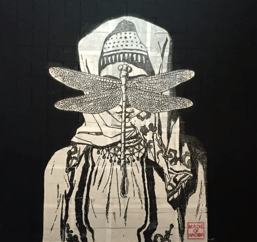 Murals by Made of Hagop seen at Arts District Co-op, Los Angeles - Behind the Cloud