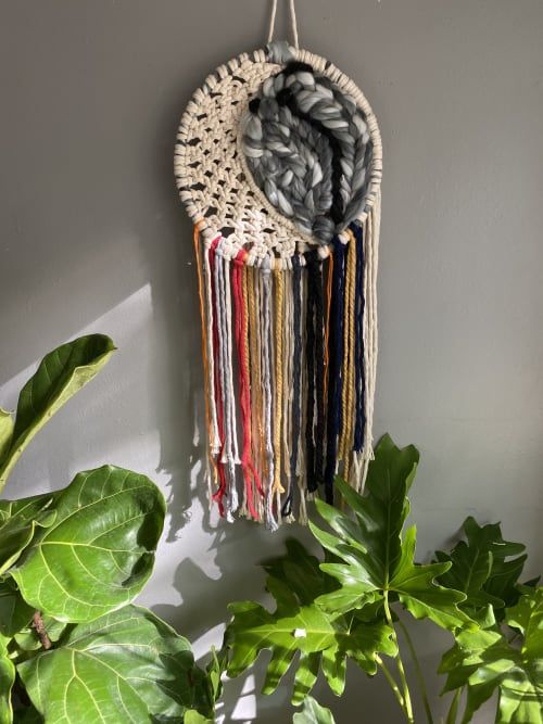 Macrame Wall Hanging by Double Rainbow Design seen at Private Residence, Cedar Rapids - Macraweave Moon